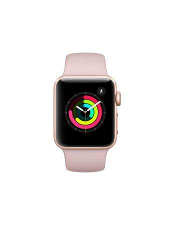 Apple Watch Series 3, 38 мм, корпус из золотистого алюминия, спортивный ремешок цвета «розовый песок»